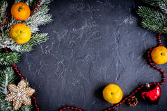 Christmas gifts and champagne with tangerines top view Royalty Free Stock Photos