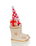 Christmas gifts in children's boots Royalty Free Stock Images