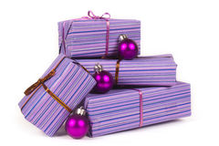 Christmas gifts with christmas  balls Royalty Free Stock Photography