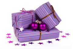 Christmas gifts with christmas  balls Royalty Free Stock Photo