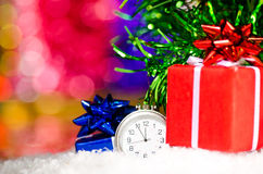 Christmas gifts and clock ticking minutes Stock Images