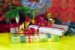 Christmas Gifts Closeup And Many Colors Background Stock Photo