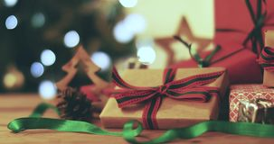 Christmas gifts closeup. 4k dolly shot stock video footage