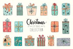 Christmas gifts collection Stock Photos