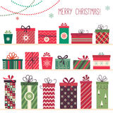 Christmas gifts collection. Collection of eighteen decorative Christmas gift boxes Royalty Free Stock Photos