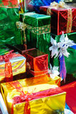 Christmas gifts. Colorfully wrapped Christmas gifts, decoration Stock Photography
