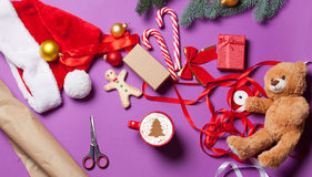 Christmas gifts and cup of coffee Royalty Free Stock Photos