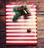 Christmas gifts with  on dark wooden background in vintage style Royalty Free Stock Photography