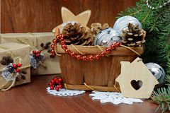 Christmas gifts and decor - holiday card stock image
