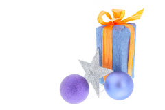 Christmas gifts and decor on white background Stock Photo