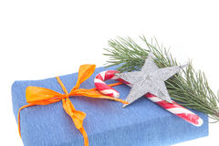 Christmas gifts and decor on white background Royalty Free Stock Photos