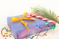 Christmas gifts and decor on white background Royalty Free Stock Photo