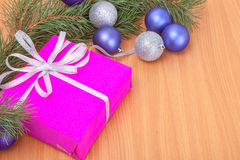 Christmas gifts and decor on wood background Stock Photography
