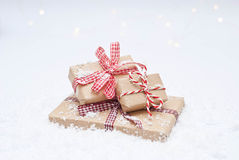 Christmas gifts. Decorated with ribbon Royalty Free Stock Images