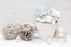 Christmas. Gifts decorated with silver ribbon Royalty Free Stock Photo
