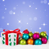 Christmas gifts decoration with colorful balls and stars Stock Images