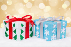 Christmas gifts decoration with golden background and copyspace Stock Photography