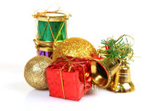 Christmas gifts and decoration items. Over white background stock photography