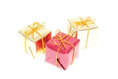 Christmas gifts. Or decoration on the white background Royalty Free Stock Photo