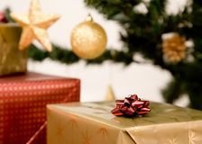 Christmas gifts and decorations Royalty Free Stock Photo