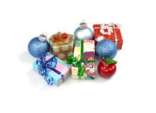 Christmas gifts and decorations. On white background Stock Image