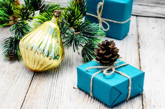 Christmas gifts and decorations Stock Images