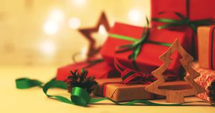 christmas gifts and decorations stock video