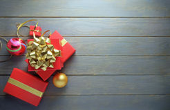 Christmas gifts and decorations with space Stock Photography