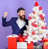 Christmas gifts and decorations. Preparation and celebration. How to organize awesome office christmas party. Checklist. Christmas preparation. Man bearded stock images