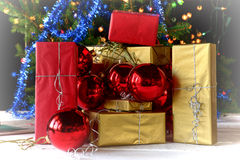 Christmas gifts and decorations Royalty Free Stock Photography