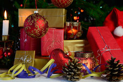 Christmas gifts and decorations Stock Photography