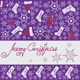 CHRISTMAS GIFTS. Design a festive banner,. Poster, greeting card on a purple background Stock Images