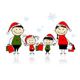 Christmas gifts. Family with shopping bags Royalty Free Stock Image