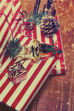 Christmas Gifts. Festive Boxes with festive decorations. New Yea Stock Photos