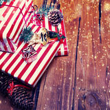 Christmas Gifts. Festive Boxes with festive decorations. New Yea Royalty Free Stock Photo