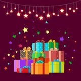 Christmas Gifts Festive Boxes Vector Illustration. Christmas gifts in festive boxes wrapped in colorful paper with large bows surrounded by shining stars. Vector Royalty Free Stock Photography
