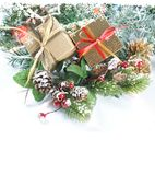 Christmas gifts and decorations with snow Royalty Free Stock Image