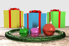 Christmas gifts with garland and balls Stock Photo