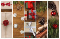 Christmas gifts, garlands and present boxes collage background Stock Photo