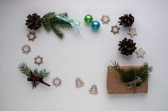 Christmas gifts and gifts for the holiday. Spruce branches and d stock image