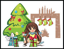 Christmas gifts for a girl. Illustration on christmas theme with girl having gifts Stock Photos