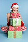 Christmas Gifts Girl Royalty Free Stock Image