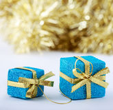 Christmas gifts on glitter background with copy space. Selected focus. Merry Christmas and Happy New Year Stock Photography