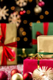 Christmas Gifts, Glitters, Baubles and Stars Stock Photography