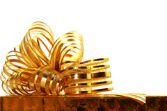 Christmas gifts golden box. On white background Stock Photography