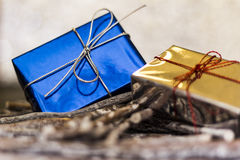 Christmas gifts. Christmas greetings, decoration and symbol xmas Royalty Free Stock Photo