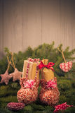 Christmas gifts handsewn socks decorations branches spruce Royalty Free Stock Photography