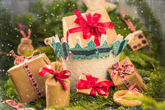 Christmas gifts handsewn socks decorations branches spruce Royalty Free Stock Images