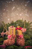 Christmas gifts handsewn socks decorations branches spruce Stock Image