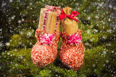 Christmas gifts handsewn socks decorations branches spruce Royalty Free Stock Photo